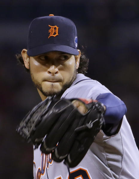 Detroit Tigers starting pitcher Anibal Sanchez throws against the Boston Red Sox during the fourth inning during Game 1 of the American League baseball championship series Saturday, Oct. 12, 2013, in Boston. (AP Photo/Matt Slocum)