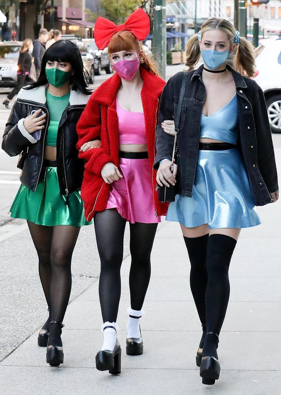 <p>Lili Reinhart, Camila Mendes and Madelaine Petsch showed off their Powerpuff Girls group costume for Halloween in Vancouver.</p>