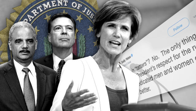 Former Attorney General Eric Holder, former FBI Director James Comey and former Deputy Attorney General Sally Yates. (Photo illustration: Yahoo News: photos; AP (2), Steven Senne/AP, AP)