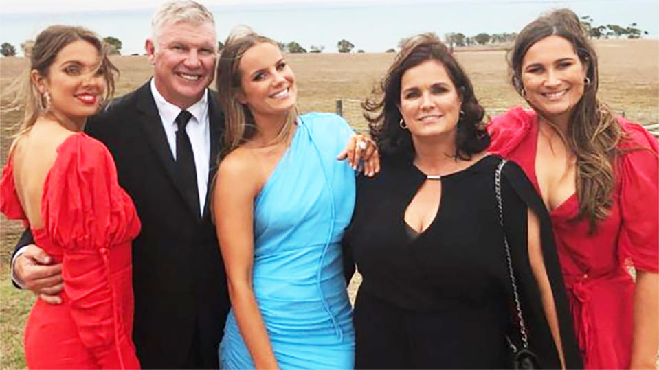 Danny Frawley, pictured here with his family before his tragic death.