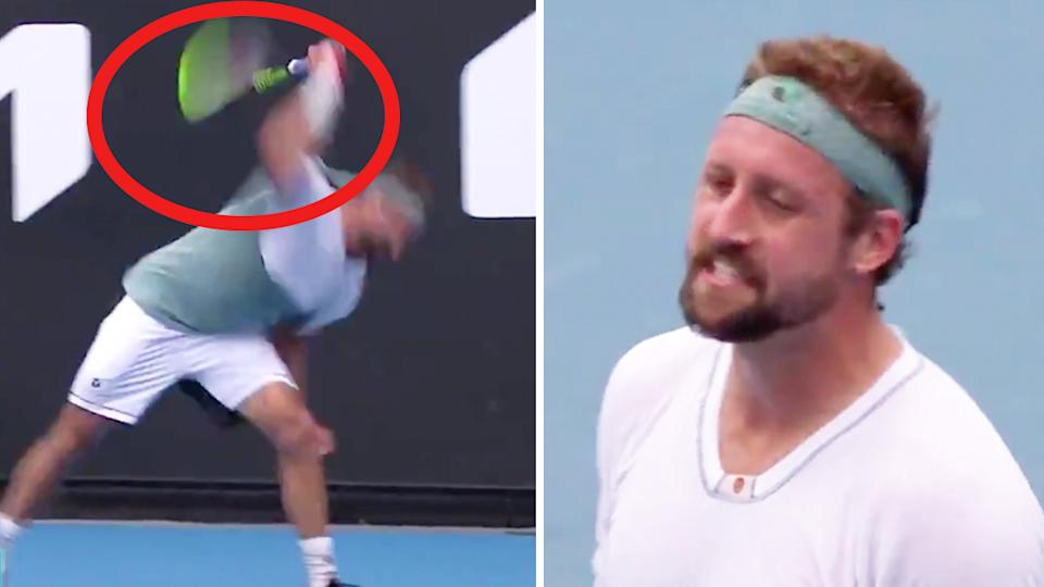 Tennys Sandgren (pictured right) getting frustrated and (pictured left) smashing his racquet.