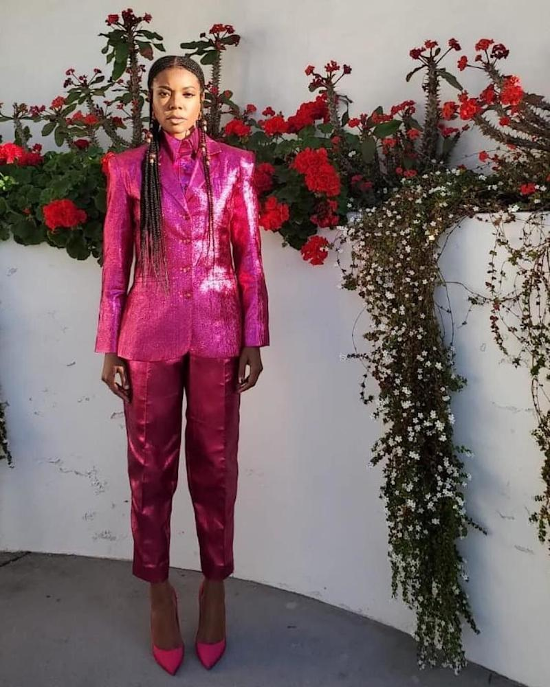 Gabrielle Union-Wade wearing a look from Christopher John Rogers's fourth collection, spring/summer 2020, April 2019.