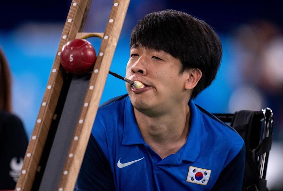 Howon Jeong of South Korea in action during the Boccia Pairs BC3 contest.