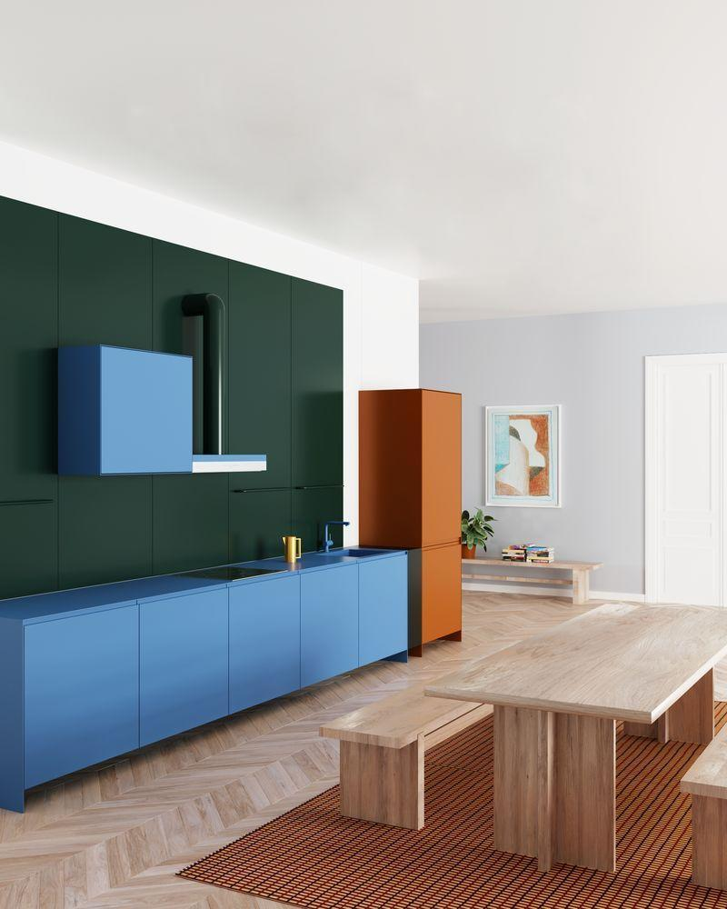 <p>For a crisp and contemporary feel, keep your colours confined to block-like areas, be it kitchen cupboards, splashbacks or walls. For best effect, follow the lead of this apartment's bespoke kitchen created by Russian design studio Supaform, and choose saturated, contrasting shades.</p>