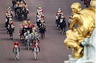 <p>The route to and from Westminster Abbey involved The Mall, Horse Guards Road, Horse Guards Parade, Horse Guards Arch, Whitehall, Parliament Square, and Broad Sanctuary.</p><p>Thousands of royal fans lined the mile-and-a-half route to Westminster Abbey on the day. </p>