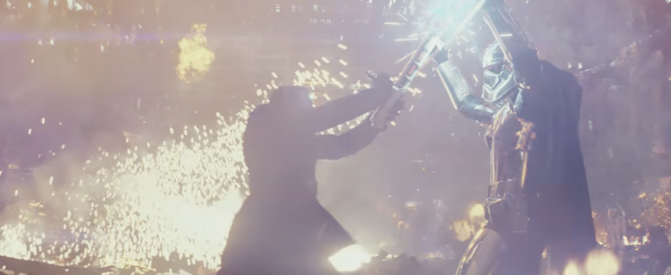 Sparks fly as Finn clashes with Phasma. (Credit: Lucasfilm)