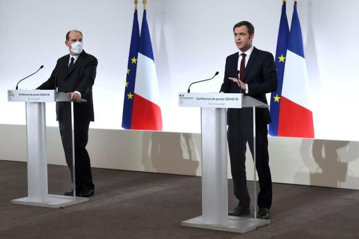 FILE PHOTO: French Prime Minister Castex and French Health Minister Veran hold news conference on COVID-19 situation