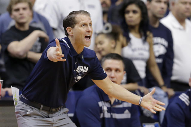 Nevada coach Eric Musselman yells instructions during the first half of a first round men's college basketball game against Florida in the NCAA Tournament, in Des Moines, Iowa, Thursday, March 21, 2019. (AP Photo/Nati Harnik)