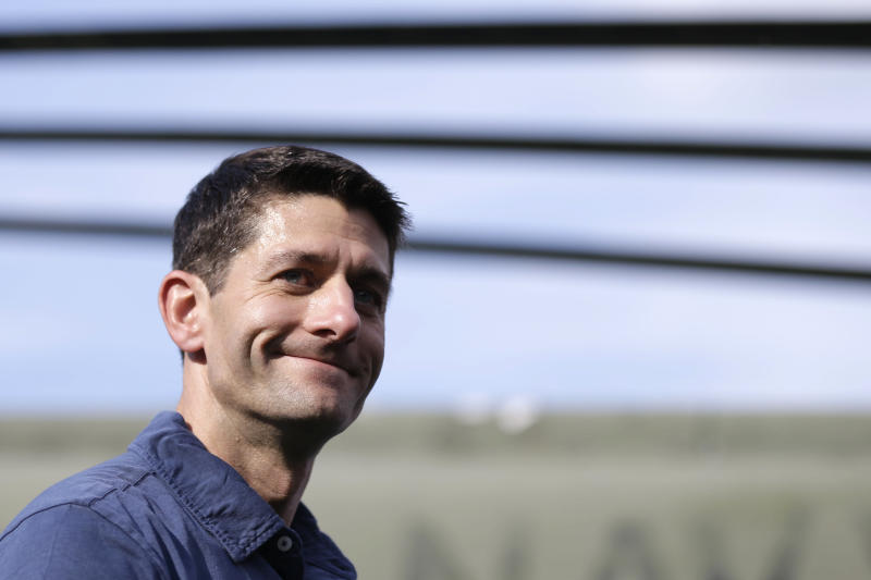 Republican vice presidential candidate, Rep. Paul Ryan, R-Wis., leaves a campaign rally at the American Helicopter Museum & Education Center, Tuesday, Aug. 21, 2012, in  West Chester, Pa. (AP Photo/Matt Rourke)