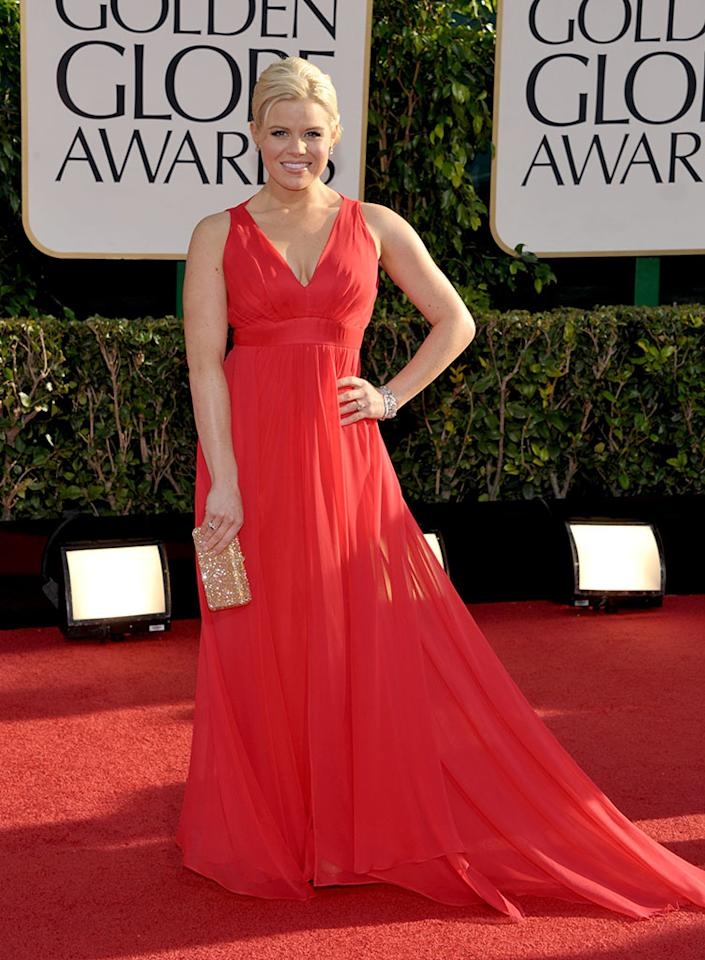 Megan Hilty arrives at the 70th Annual Golden Globe Awards at the Beverly Hilton in Beverly Hills, CA on January 13, 2013.