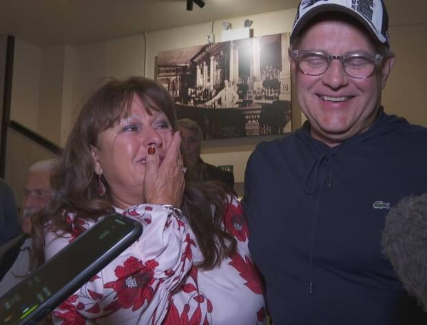 Wayne Long was emotional Monday night as he celebrated his third win in Saint John-Rothesay. (Graham Thompson/CBC - image credit)