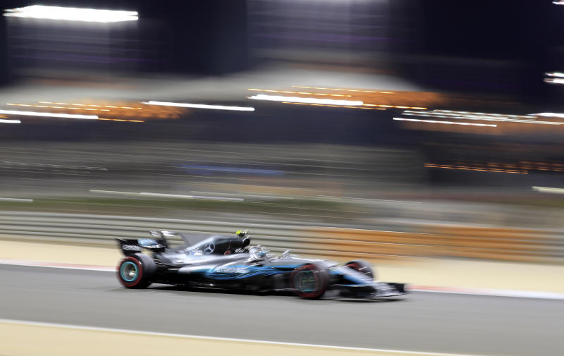 Mercedes driver Valtteri Bottas of Finland steers his car during the qualifying session for the Bahrain Formula One Grand Prix, at the Formula One Bahrain International Circuit in Sakhir, Bahrain, Saturday, April 15, 2017. The Bahrain Formula One Grand Prix will take place on Sunday. (AP Photo/Hassan Ammar)