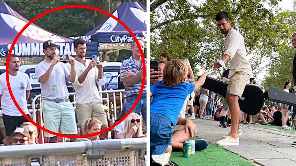 Novak Djokovic (pictured left) filming a concert at SummerStage New York and (pictured right) greeting a fan at SummerStage.