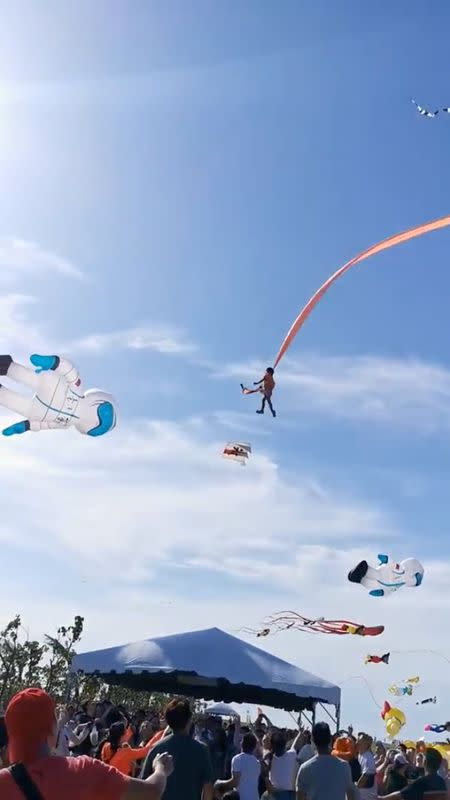 Girl, 3, survives wild skyride caught in tail of giant kite