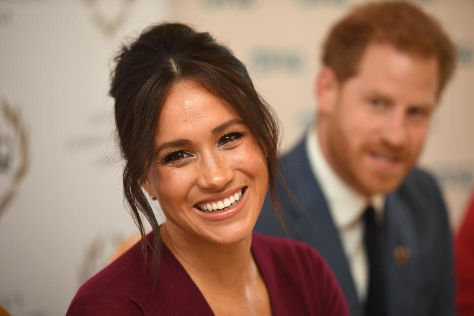 Meghan, Duchess of Sussex and Prince Harry, Duke of Sussex attend a roundtable discussion on gender equality with The Queens Commonwealth Trust (QCT) and One Young World at Windsor Castle on October 25, 2019 in Windsor, England. [Photo: Getty]