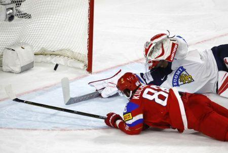 Ice Hockey - 2017 IIHF World Championship - Bronze medal game - Russia v Finland - Cologne, Germany - 21/5/17 - Russia's Nikita Kucherov scores past Finland's Hari Satire REUTERS/Wolfgang Rattay