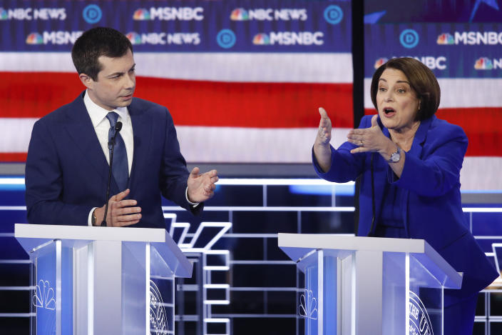 Pete Buttigieg and Amy Klobuchar at the debate in Las Vegas last week. (John Locher/AP)