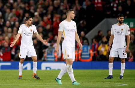Soccer Football - Champions League Semi Final First Leg - Liverpool vs AS Roma - Anfield, Liverpool, Britain - April 24, 2018 Roma's Kevin Strootman looks dejected with team mates Action Images via Reuters/Carl Recine