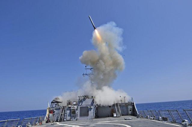 The guided-missile destroyer USS Barry launches a Tomahawk cruise missile on March 29, 2011. (image: U.S. Navy)