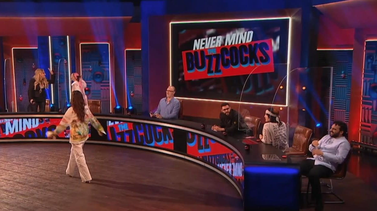 Greg Davies is in the host's chair for the rebooted series of music-based panel show 'Never Mind the Buzzcocks'. (Sky)