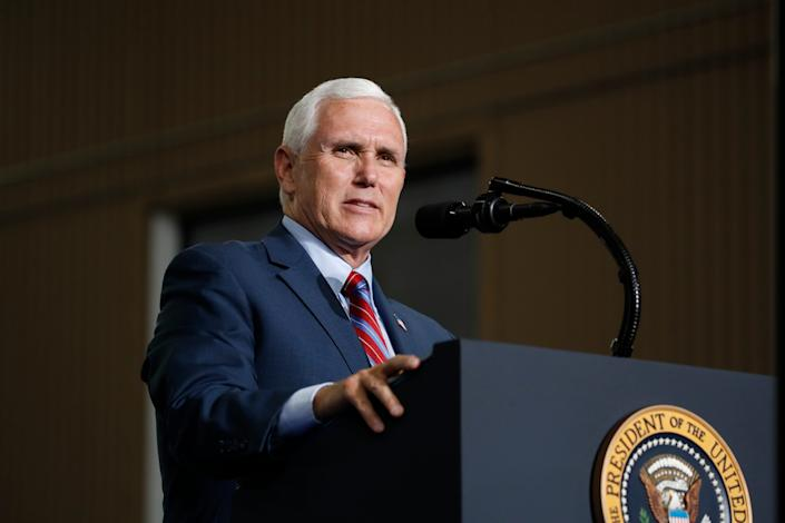 Vice President Mike Pence speaks at the Vehicle Assembly Building on May 23, 2020, at NASA's Kennedy Space Center in Cape Canaveral, Florida.
