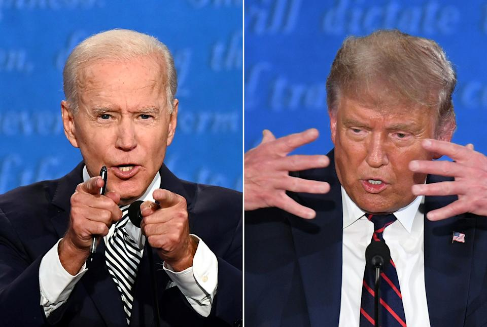 Democratic Presidential candidate and former US Vice President Joe Biden (L) and US President Donald Trump speaking during the first presidential debate. (Photo: JIM WATSON via Getty Images)