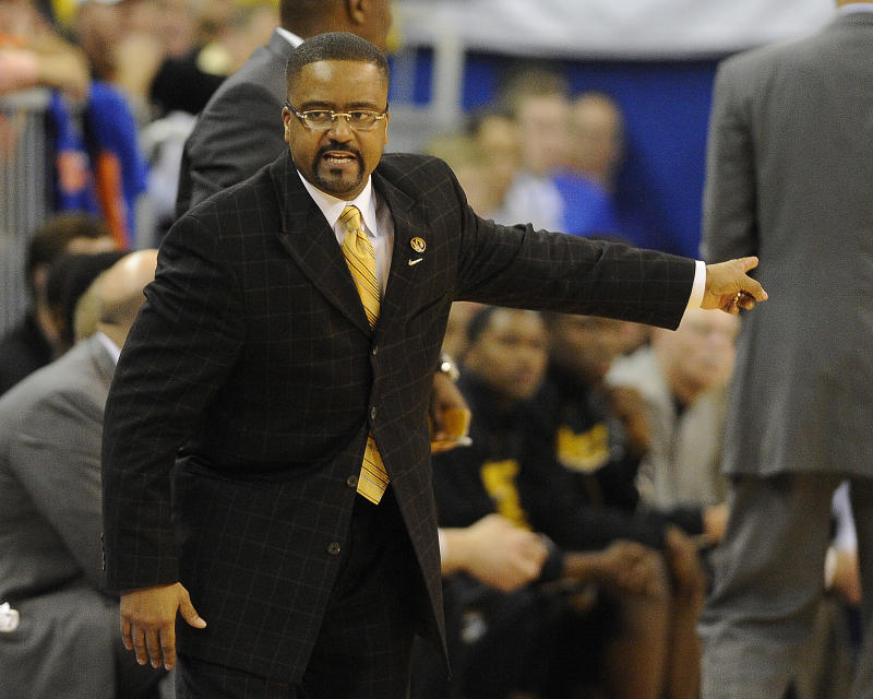 Missouri coach Frank Haith shouts instructions to his team during the second half of an NCAA college basketball game against Florida in Gainesville, Fla., Saturday, Jan. 19, 2013. Florida won 83-52.   (AP Photo/Phil Sandlin)