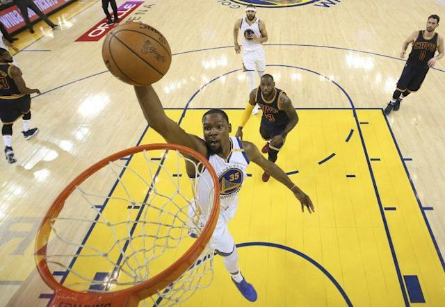 "Technically, LeBron James is trailing <a class=""link rapid-noclick-resp"" href=""/nba/players/4244/"" data-ylk=""slk:Kevin Durant"">Kevin Durant</a> here. (AP)"