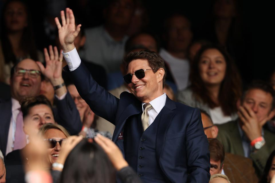 Tom Cruise watches the Ladies' Singles Final match at wimbledon