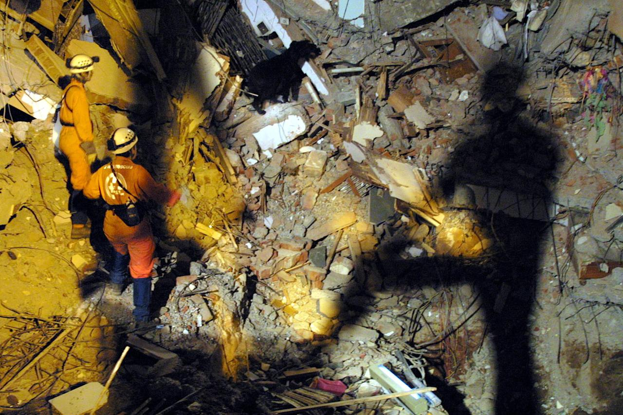 Swiss rescue team dog Dixie searches through the rubble as team leader Lanuna Mulln (L) and dog handler Maja Gahweiler (2nd L) watch during a search for victims at the collapsed Chandrama apartment in Ahmedabad, 30 January 2001, as shadow of a team member drops is cast on the site. No survivors were found in the collapsed site.  AFP PHOTO /Toshifumi KITAMURA
