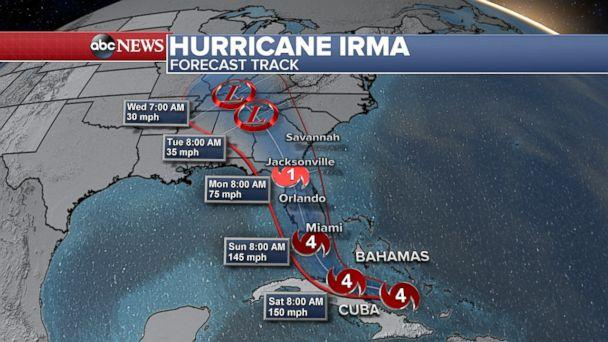 Map: The expected path of Hurricane Irma as project at 2pm ET, Sept. 8. 2017. (ABC News)