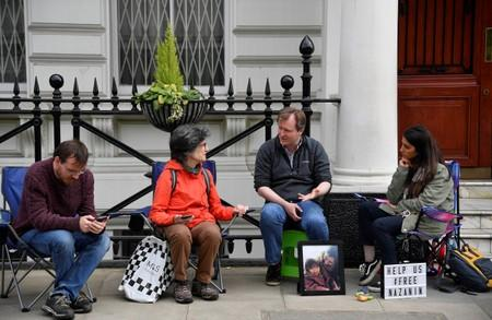 Ratcliffe, the husband of jailed British-Iranian aid worker Nazanin Zaghari-Ratcliffe speaks with supporters as he stages a vigil and goes on hunger strike outside of the Iranian embassy in London