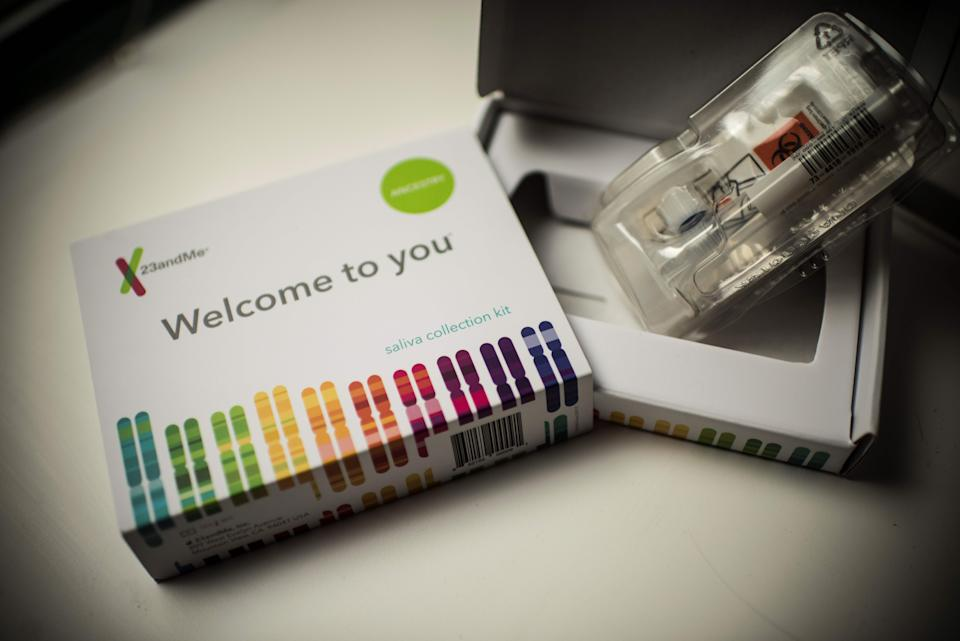 This illustration picture shows a saliva collection kit for DNA testing displayed in Washington DC on December 19, 2018. - Between 2015 and 2018, sales of DNA test kits boomed in the United States and allowed websites to build a critical mass of DNA profiles. The four DNA websites that offer match services --  Ancestry, 23andMe, Family Tree DNA, My Heritage -- today have so many users that it is rare for someone not to find at least one distant relative. (Photo by Eric BARADAT / AFP)        (Photo credit should read ERIC BARADAT/AFP via Getty Images)