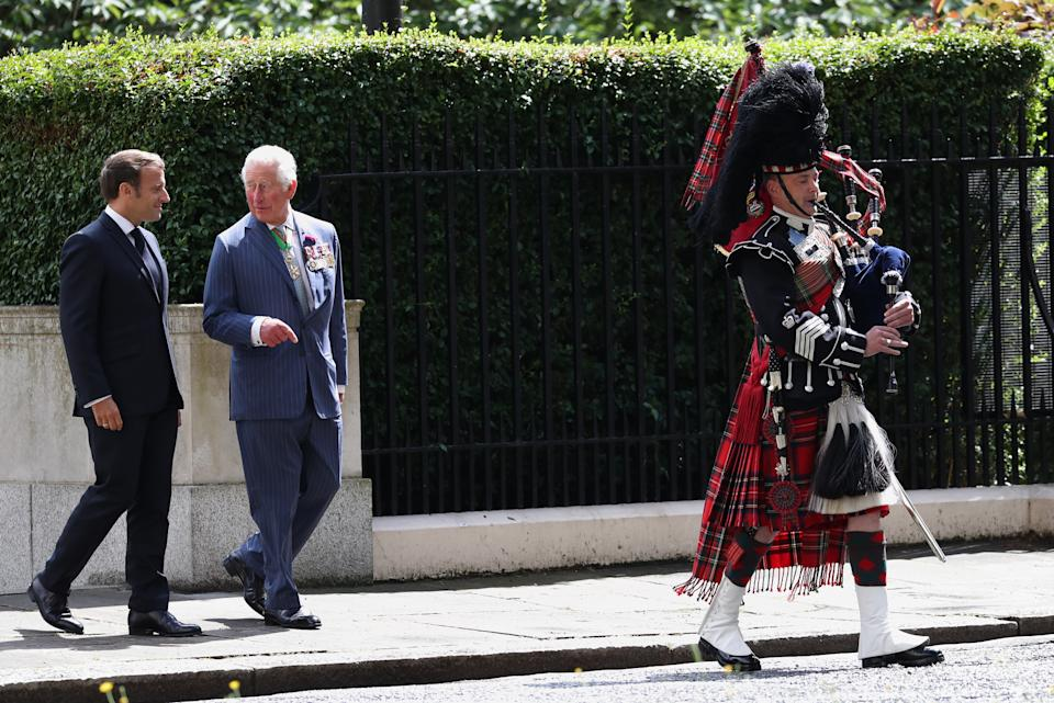 The Prince of Wales with French president Emmanuel Macron attending a ceremony at Carlton Gardens in London during his visit to the UK.