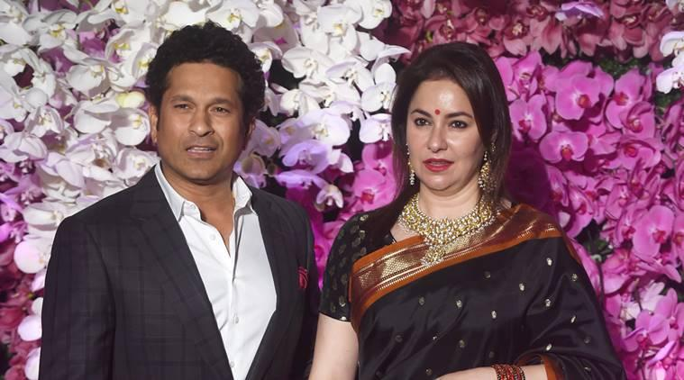 Sachin Tendulkar and wife Anjali attend the wedding reception of Akash Ambani and Shloka Mehta in Mumbai.