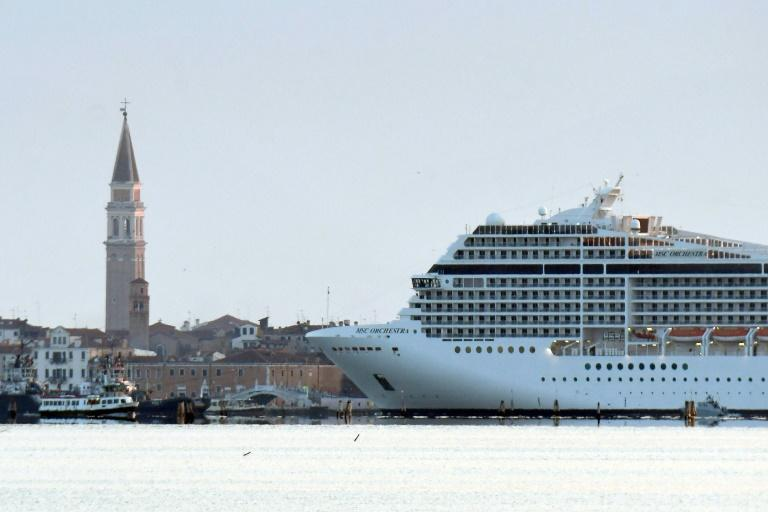 The MSC Orchestra's presence has caused controversy as evironmentalists say the waves cruise ships generate are eroding Venice's foundations