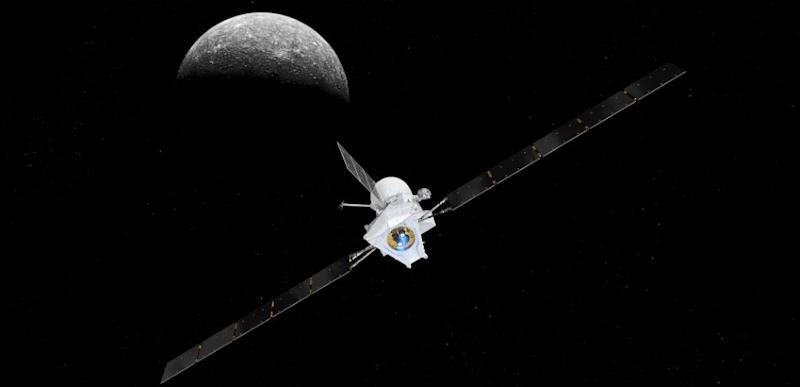 Artist's impression of the BepiColombo spacecraft approaching Mercury.