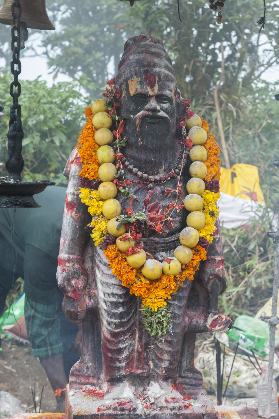 The statue of Agastya muni abode the Agastyaarkoodam mountain in south India