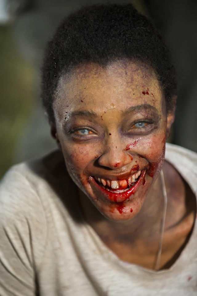 <p>Sonequa Martin-Green shows off her biggest Walker Sasha smile while filming the Season 7 finale.<br><br>(Photo: AMC) </p>