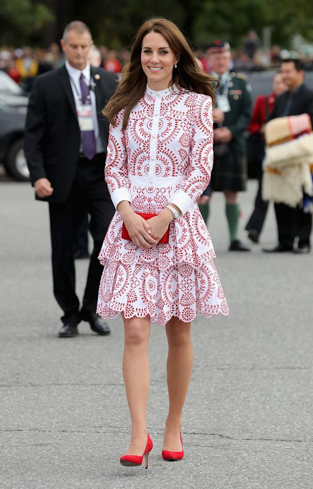 <p>The Duke and Duchess of Cambridge's royal tour of Canada is said to have been one of the royal's most expensive wardrobe vamps with reports that it cost approximately £62,000 in total. Day two of the trip saw one of her most impressive looks, as the Duchess stepped out in a £4,000 Alexander McQueen dress. A pair of £165 Russell and Bromley shoes and a £640 Miu Miu clutch finished the look. <em>[Photo: Getty]</em> </p>