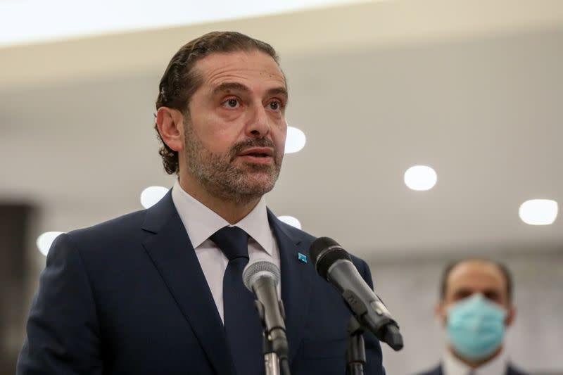 Prime Minister-designate Saad al-Hariri speaks after meeting with Lebanon's President Michel Aoun at the presidential palace in Baabda