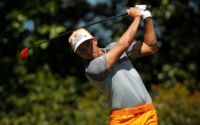 <span>Rickie Fowler battles to keep pace with the leaders</span> <span>Credit: JONATHAN ERNST/Reuters </span>