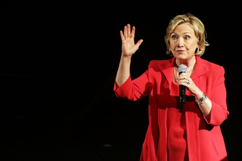 Former Secretary of State Hillary Clinton speaks on stage at the campus of Lehman College for the Dream Big Day at the Bronx Children's Museum on July 25, 2014 in the Bronx borough of New York City (AFP Photo/Spencer Platt)