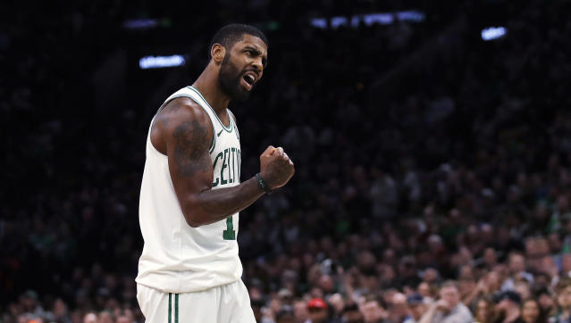 Kyrie Irving went to visit kids at Boston Children's Hospital and ended up having a debate about Duke basketball with one of the patients. (AP Photo/Charles Krupa)