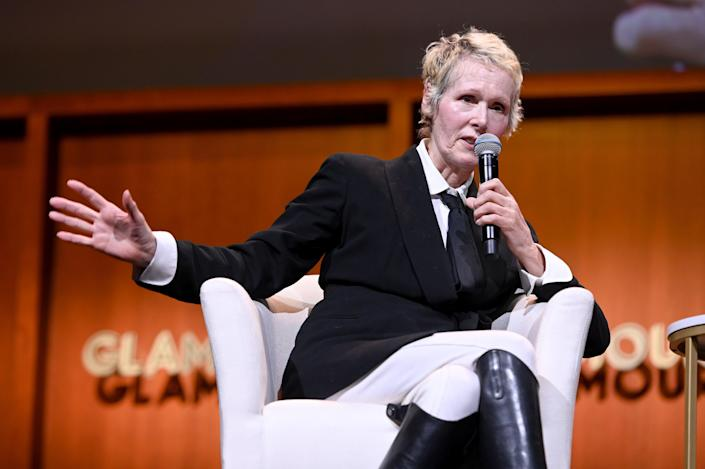 E Jean Carroll speaks onstage during the How to Write Your Own Life panel at the 2019 Glamour Women Of The Year Summit  (Getty Images for Glamour)