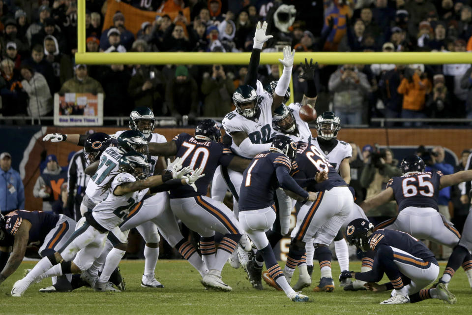 Philadelphia Eagles DT Treyvon Hester (90) was credited with a blocked kick on Chicago Bears kicker Cody Parkey's late-game attempt on Sunday night. (AP)