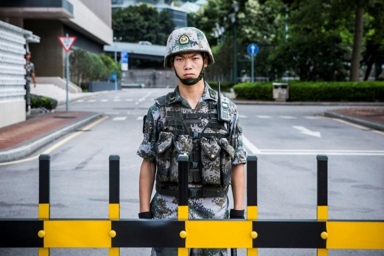 A soldier from the People's Liberation Army, which has a garrison in Hong Kong, but keeps a very low profile