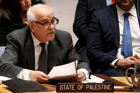 Permanent Observer for the State of Palestine to the U.N. Riyad Mansour addresses the U.N. Security Council meeting on the situation in the Middle East, including the Palestinian, at the United Nations Headquarters in New York