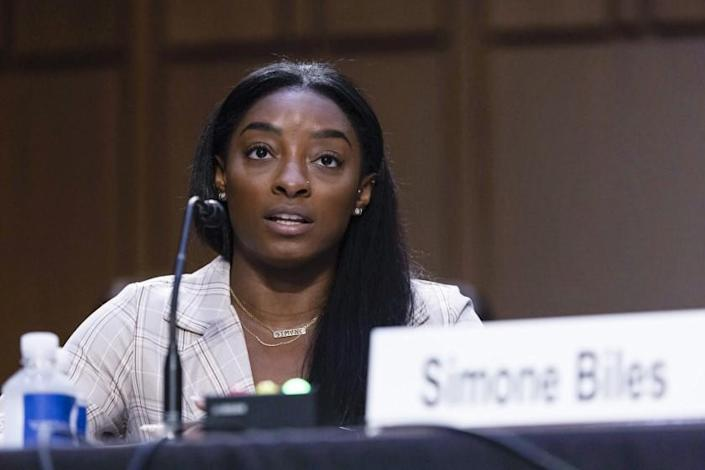 United States Olympic gymnast Simone Biles testifies during a Senate Judiciary hearing about the Inspector General.