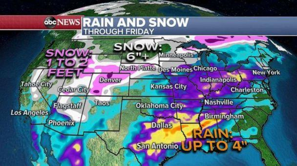 PHOTO: The heaviest rain will be from Texas to Mississippi and Alabama where some areas could see 4 inches of accumulation. (ABC News)
